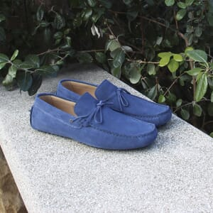 vue posee mocassins lacets homme cuir daim bleu jules & jenn