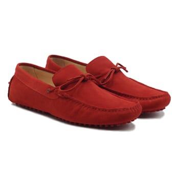 mocassins lacets homme cuir daim rouge jules & jenn