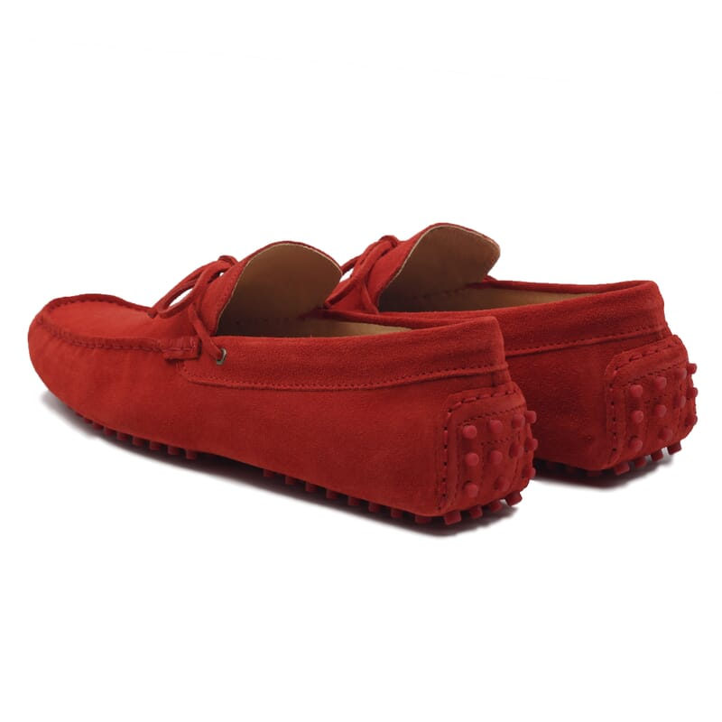 vue arriere mocassins lacets homme cuir daim rouge jules & jenn