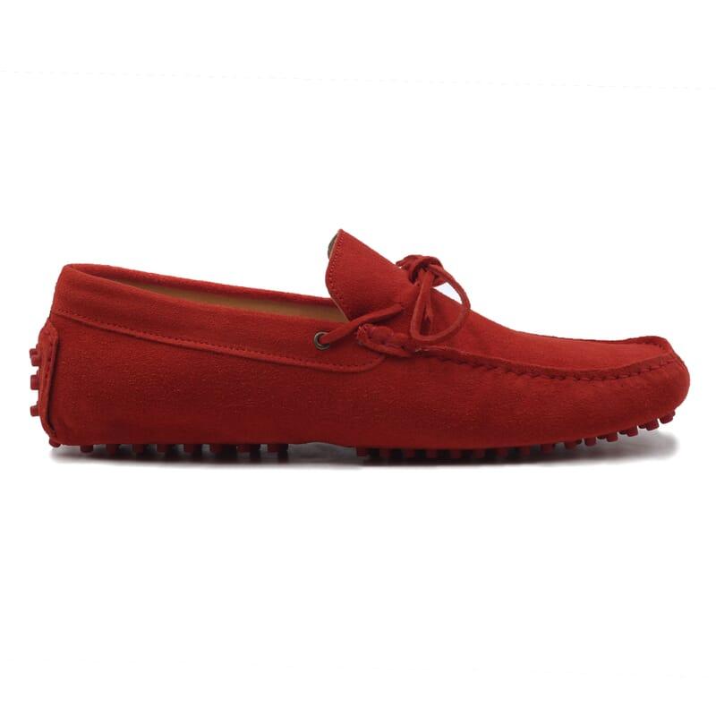 vue exterieur mocassins lacets homme cuir daim rouge jules & jenn
