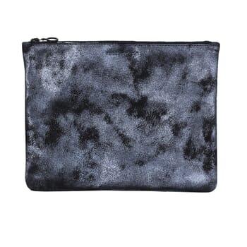pochette cuir gris grand modele metallise jules & jenn