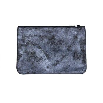 vue arriere pochette cuir gris moyen modele metallise jules & jenn