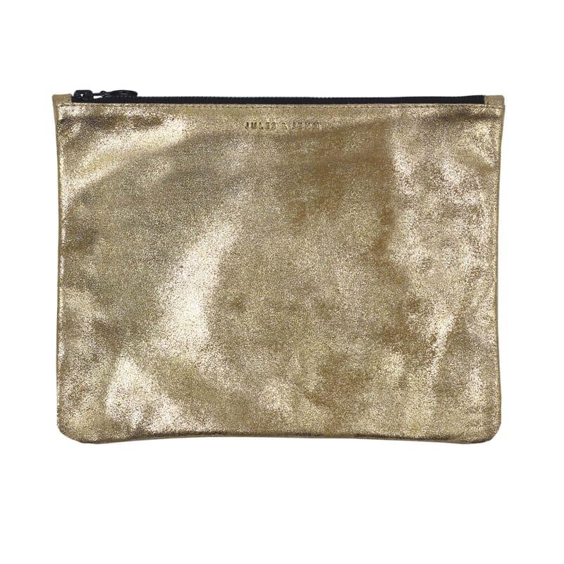 pochette cuir dore metallise grand modele jules & jenn