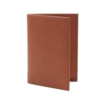 vue debout ouvert portefeuille classique cuir brique