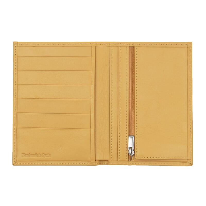 vue ouvert portefeuille classique cuir jaune jules & jenn