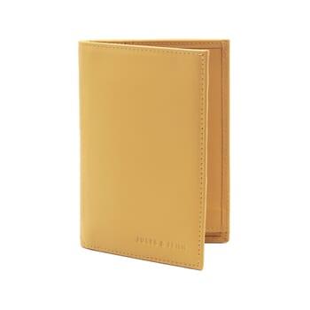 vue debout ouvert portefeuille classique cuir jaune
