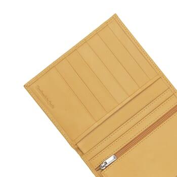 gros plan portefeuille classique jaune fabrique en France