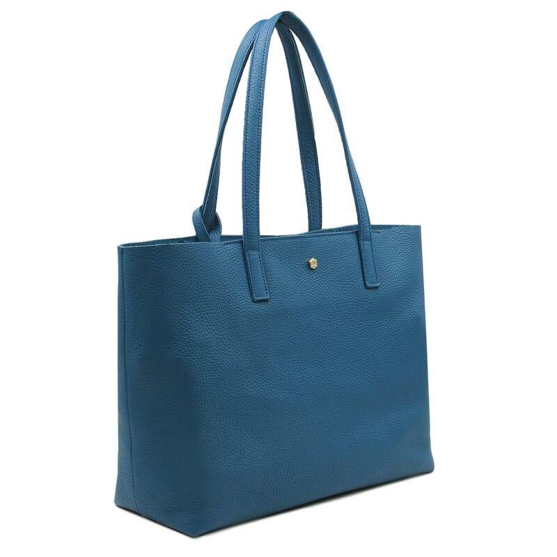 vue de face sac cabas cuir souple grainé bleu denim JULES & JENN