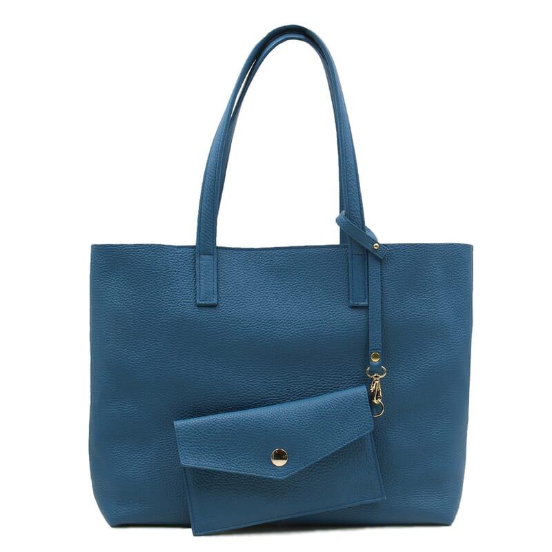 pochette amovible sac cabas cuir souple grainé bleu denim JULES & JENN
