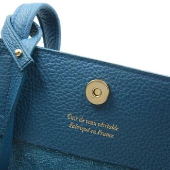 vue intérieur sac cabas cuir souple grainé bleu denim JULES & JENN