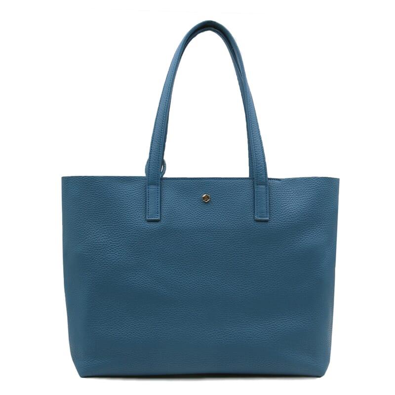 vue face sac cabas cuir souple graine bleu denim jules & jenn