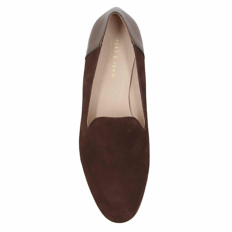 vue dessus slippers classiques cuir daim marron metallise jules & jenn