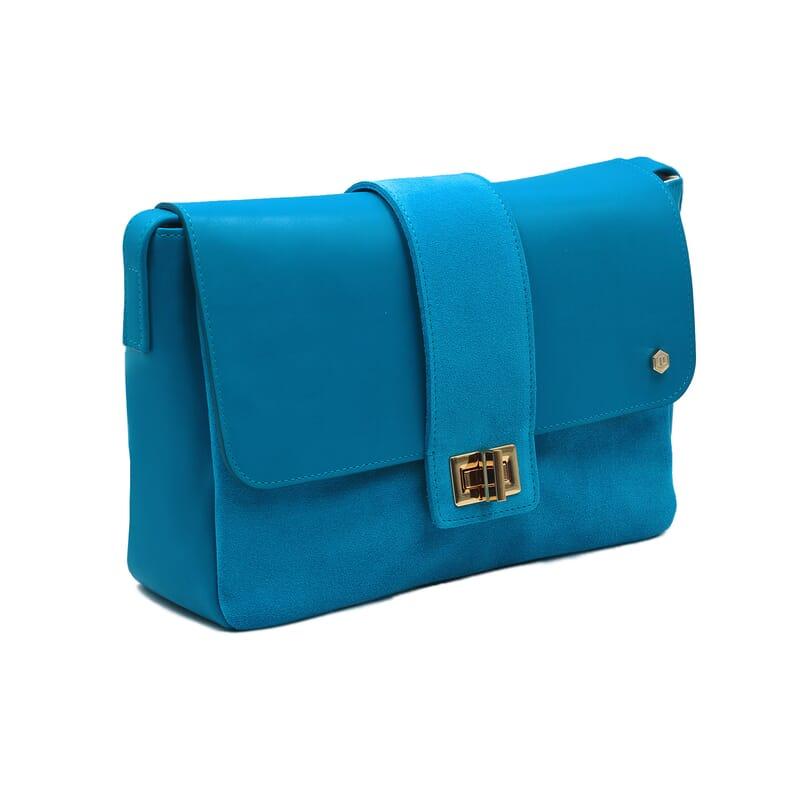 vue de face sac bandoulière cuir bleu clair jules & jenn
