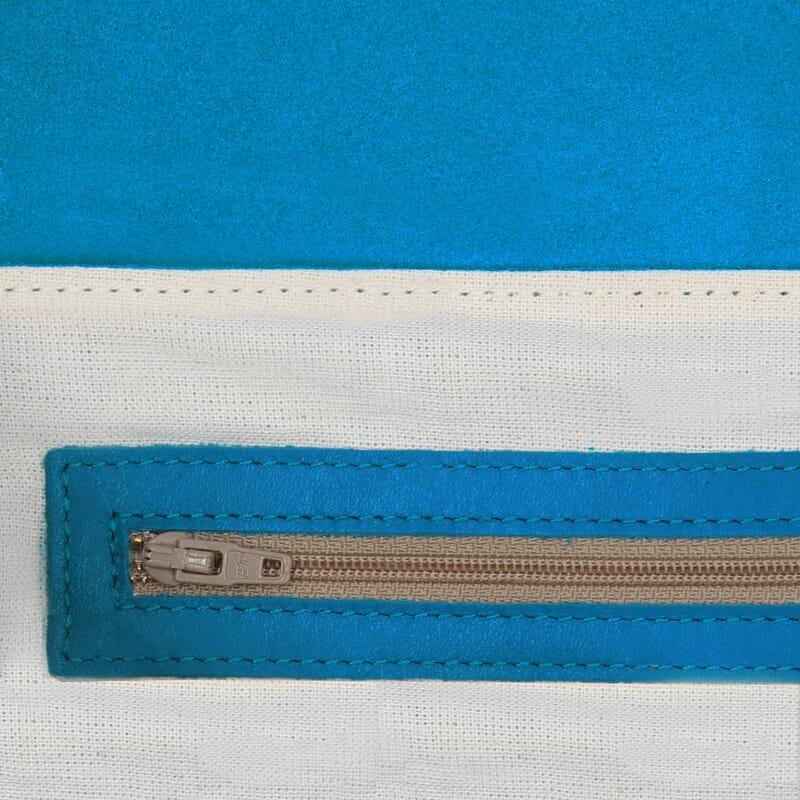 vue interieur sac bandouliere cuir daim bleu clair jules & jenn
