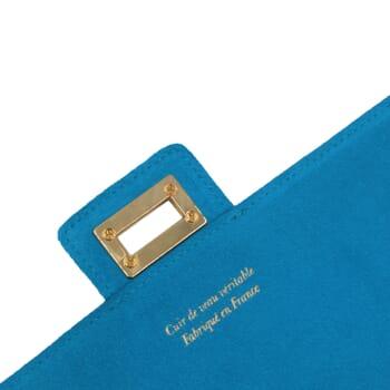 vue bandouliere sac bandouliere cuir daim bleu clair jules & jenn