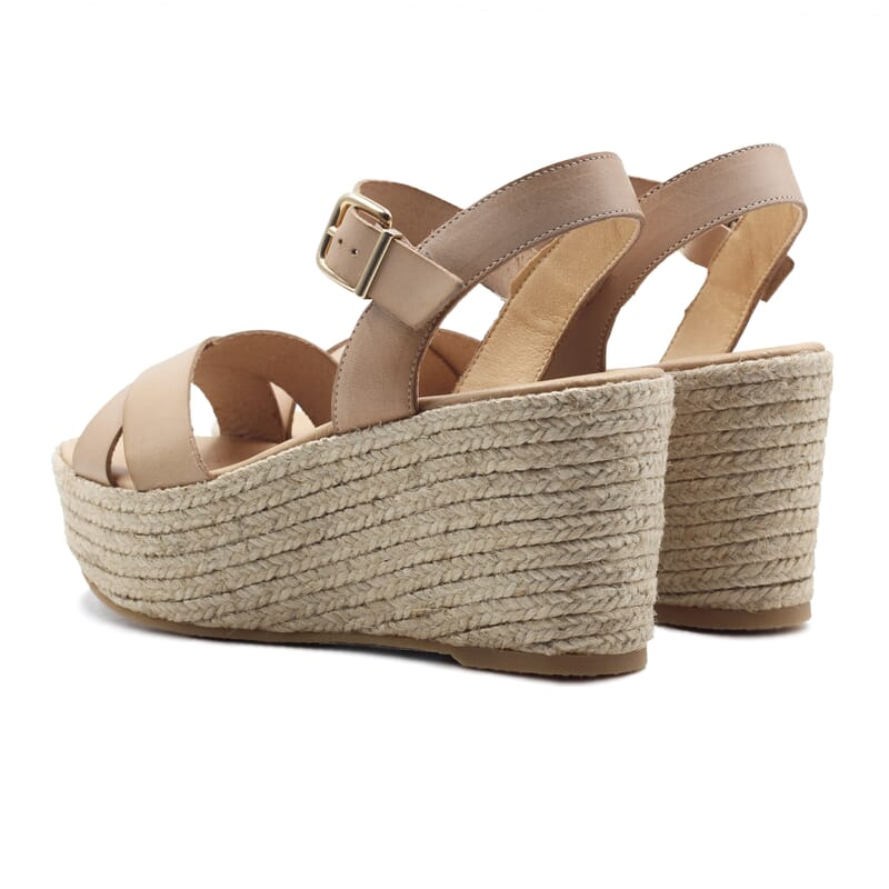 vue arriere sandales compensees cuir beige jules & jenn