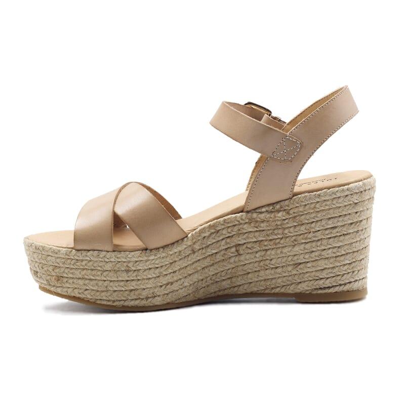 vue interieure sandales compensees cuir beige jules & jenn