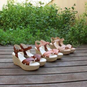 vue multiproduits des sandales compensees cuir beige jules & jenn