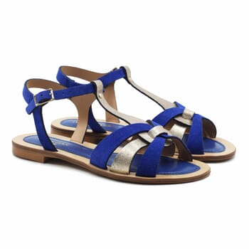 sandales plates croisees cuir daim bleu royal jules&jenn