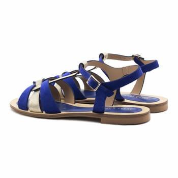 vue arriere sandales plates croisees cuir daim bleu royal jules&jenn
