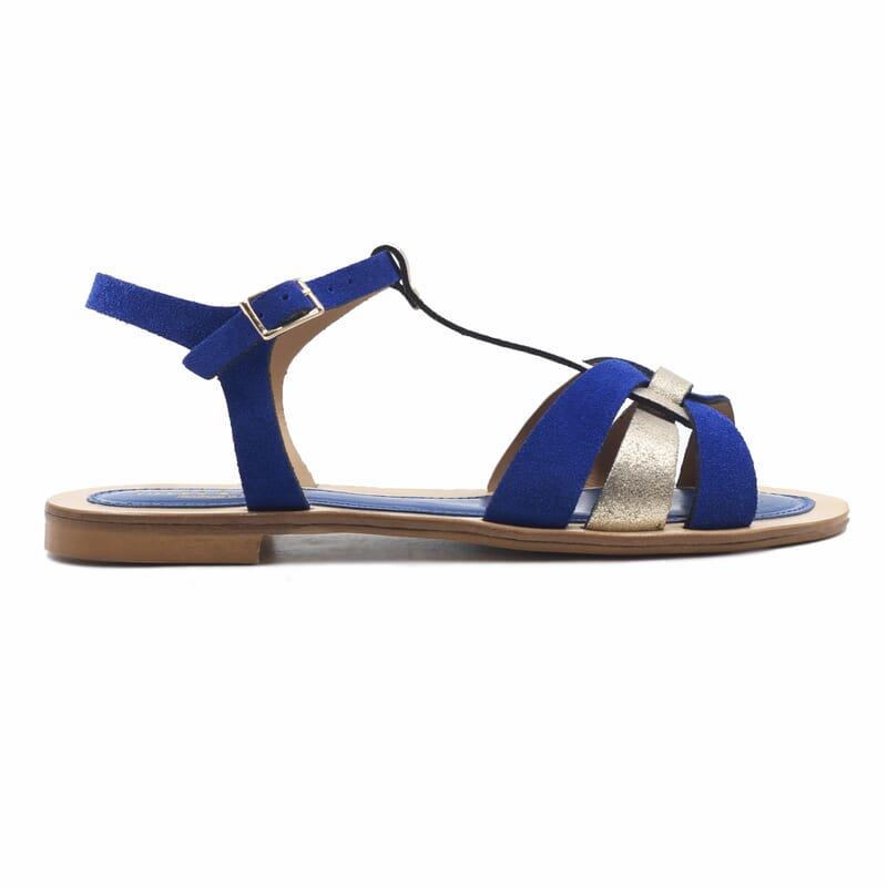 vue exterieure sandales plates croisees cuir daim bleu royal jules&jenn