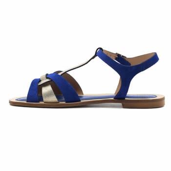 vue interieure sandales plates croisees cuir daim bleu royal jules&jenn