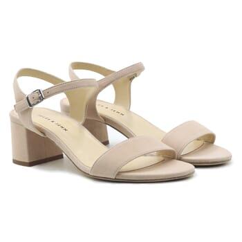 sandales moyen talon cuir daim beige jules & jenn
