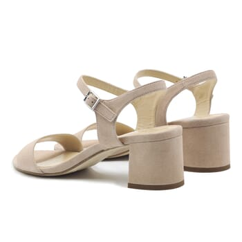 vue arriere sandales moyen talon cuir daim beige jules & jenn
