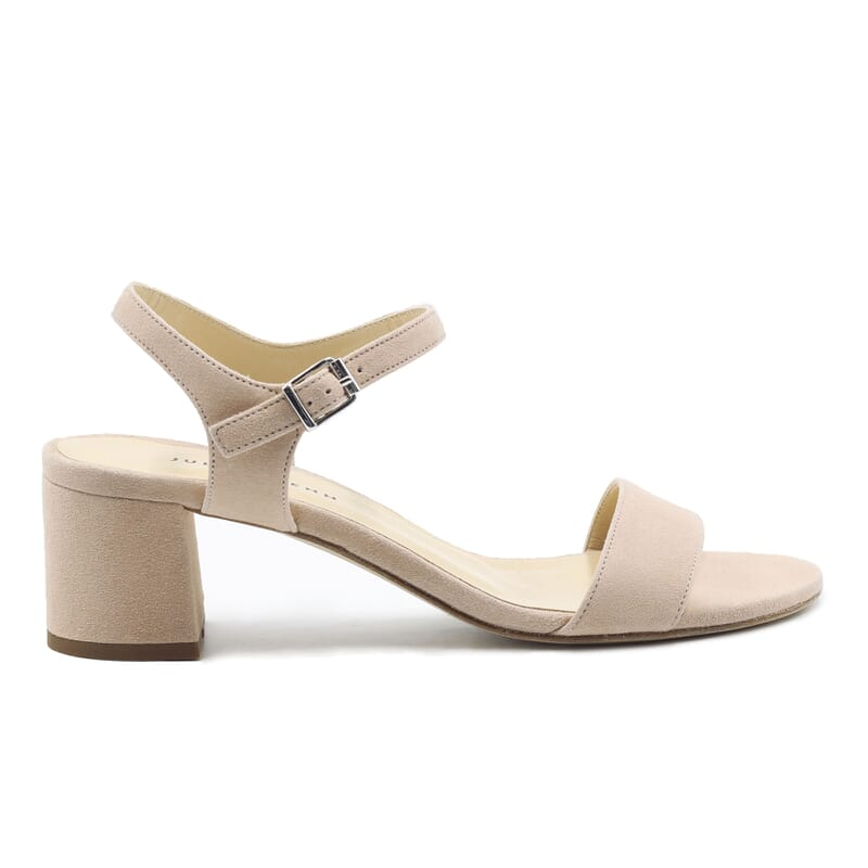vue exterieur sandales moyen talon cuir daim beige jules & jenn