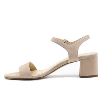 vue interieur sandales moyen talon cuir daim beige jules & jenn