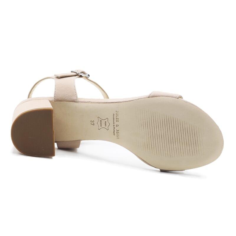 vue dessous sandales moyen talon cuir daim beige jules & jenn