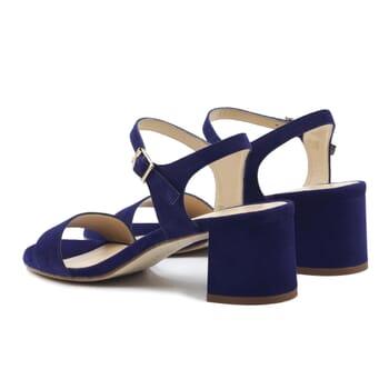 vue arriere sandales moyen talon cuir daim bleu jules & jenn