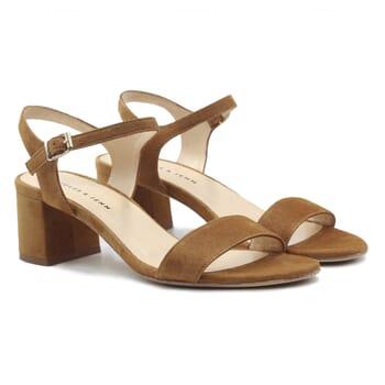 sandales moyen talon cuir daim camel jules & jenn