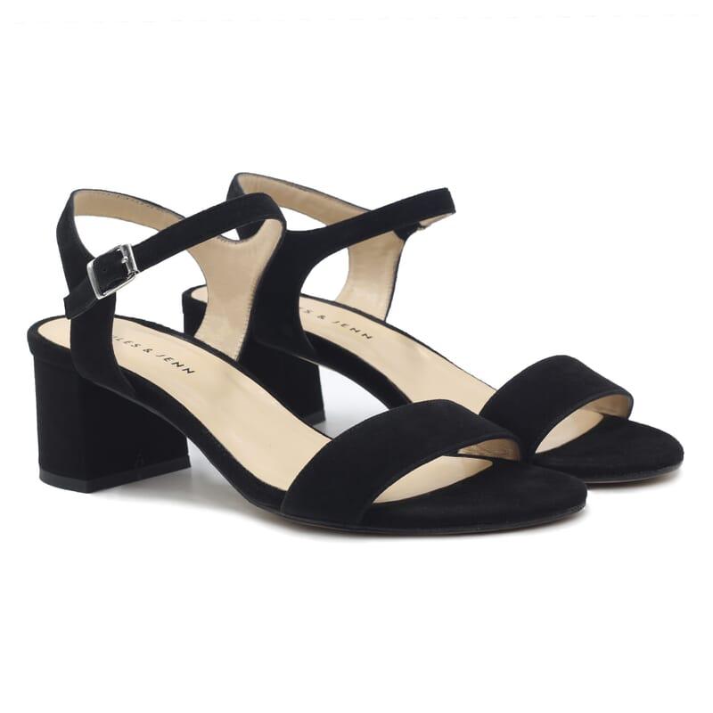 sandales moyen talon cuir daim noir jules & jenn
