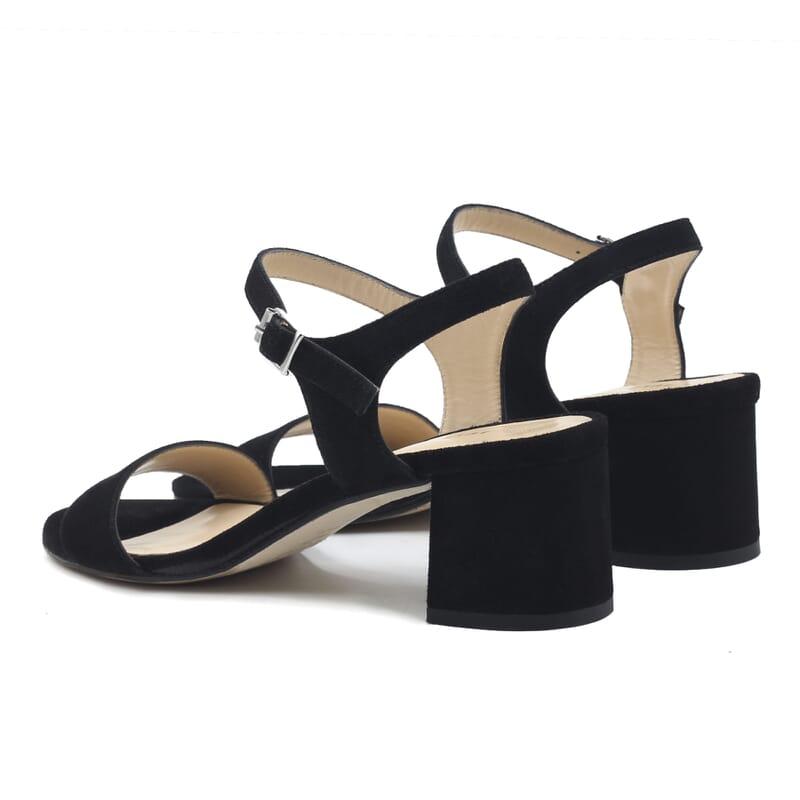 vue arriere sandales moyen talon cuir daim noir jules & jenn