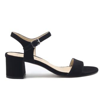 vue exterieur sandales moyen talon cuir daim noir jules & jenn