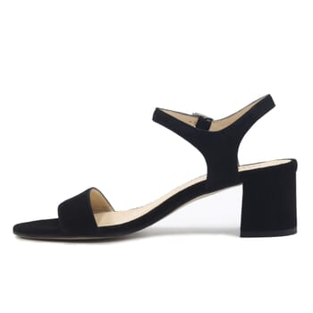 vue interieur sandales moyen talon cuir daim noir jules & jenn