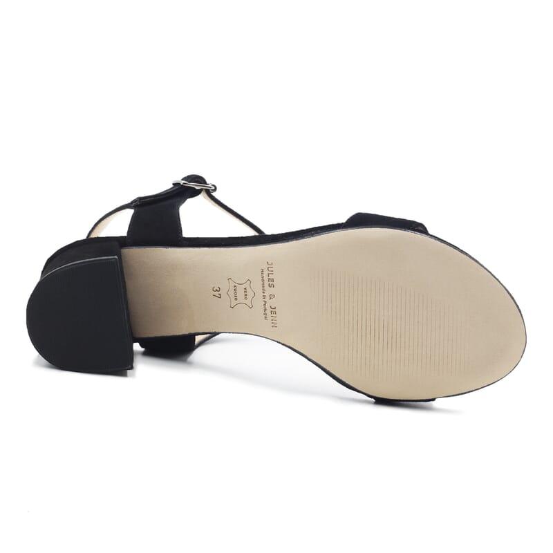 vue dessous sandales moyen talon cuir daim noir jules & jenn