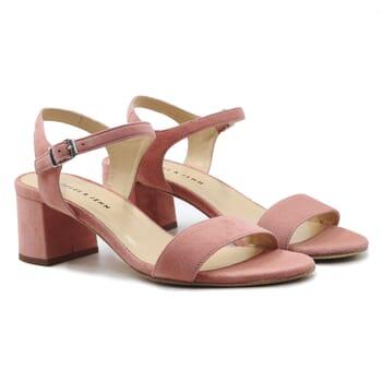 sandales moyen talon cuir daim rose jules & jenn