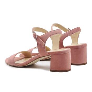 vue arriere sandales moyen talon cuir daim rose jules & jenn