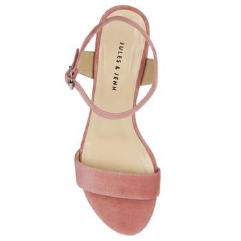 vue dessus sandales moyen talon cuir daim rose jules & jenn