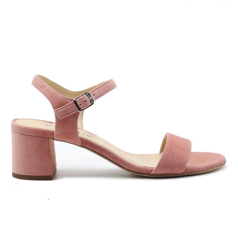 vue exterieur sandales moyen talon cuir daim rose jules & jenn