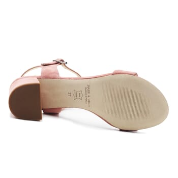 vue dessous sandales moyen talon cuir daim rose jules & jenn