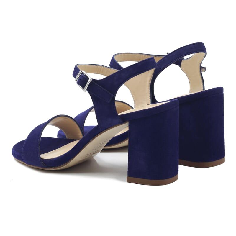 vue arriere sandales à talon cuir daim bleu jules & jenn