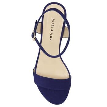 vue dessus sandales à talon cuir daim bleu jules & jenn