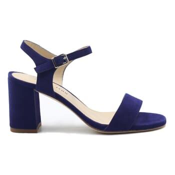 vue exterieur sandales à talon cuir daim bleu jules & jenn