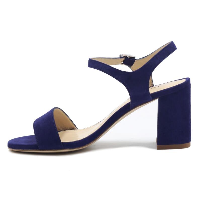 vue interieur sandales à talon cuir daim bleu jules & jenn