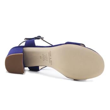 vue dessous sandales à talon cuir daim bleu jules & jenn