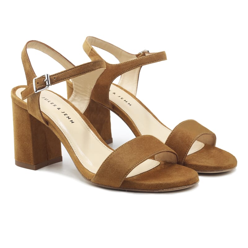 sandales à talon cuir daim camel jules & jenn