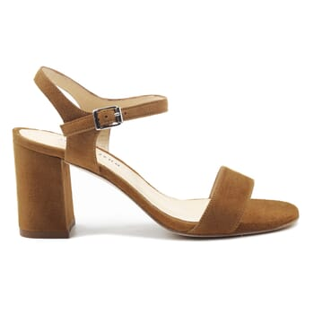 vue exterieur sandales à talon cuir daim camel jules & jenn